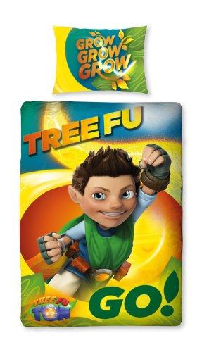 Character World 135 x 200 cm Tree Fu Tom Leaves Single Panel Duvet Set, Multi