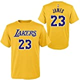 Outerstuff Youth Los Angeles Lakers Lebron James Name and Number Short Sleeve T-Shirt (Gold) (Small (8)) (Color: Gold/Purple, Tamaño: Small / 8)