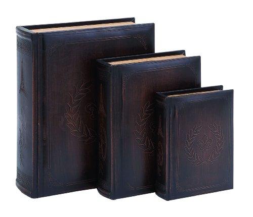 Fleur-De-Lis Leather Book Box (Set Of 3) front-667877