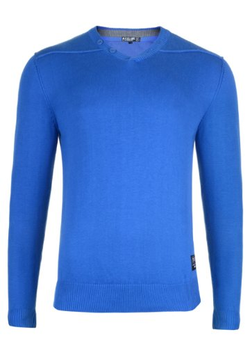 Mens 'CrossHatch' V Neck Fine Knit Jumper With Raw Edge Seam Details. Style Name - Bari. In Deep Azure Size -XXLarge