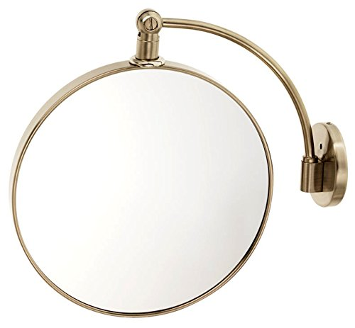 Danielle Enterprises Wall Mount Satin Nickel Arched Round Mirror, 10X Magnification, Satin Nickel front-995724