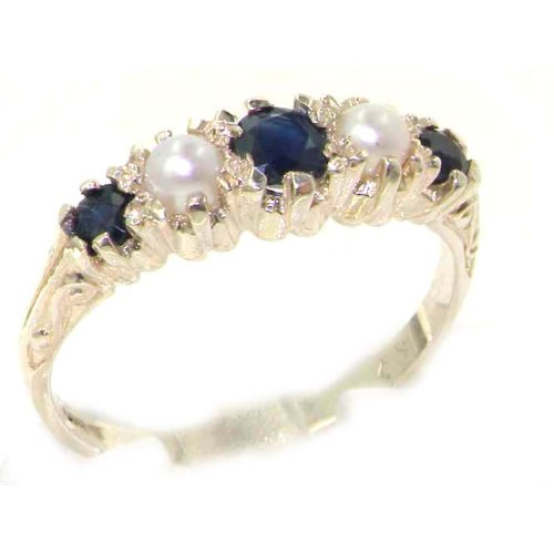 Antique Style Solid Sterling Silver Natural Sapphire & Pearl Ring with English Hallmarks - Size 12 - Finger Sizes 5 to 12 Available - Suitable as an Anniversary ring, Engagement ring, Eternity ring, or Promise ring