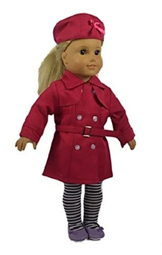 Salsy Fit 18 Inch Doll Red Color Trench Coat 4pcs/set Include Hat+long Coat+waistband+stocking Clothes - 1
