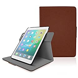 iPad Air 2 / Air 1 Case - roocase Orb 360 Rotating Folio Leather Cover with Sleep / Wake Feature for Apple iPad Air 2 (2014) / Air 1 (2013) with Stand Support Landscape, Portrait & Typing View - Brown