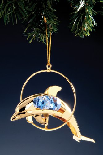 Dolphin Blue Swarovski Crystal 24k Gold Plated Ornament