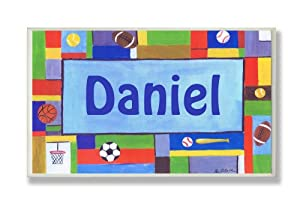 The Kids Room Contemporary Sports Personalized Rectangle Plaque, Daniel