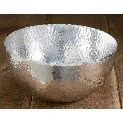 KINDWER Large Hammered Aluminum Petal Bowl, 14-Inch, Silver