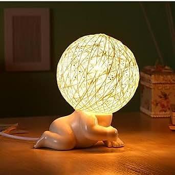 Una luce lampade da tavolo cartoon ceramica bianca illuminazione - Amazon lampade da tavolo ...
