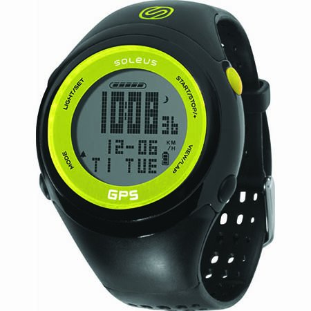 Soleus GPS FIT 1.0 Running Watch, Black/Lime Running Gps