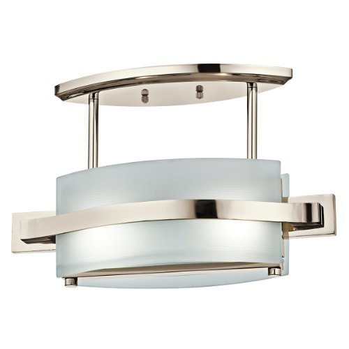 Kichler Lighting 42092PN Freeport 2-Light Semi-Flush Ceiling Light, Polished Nickel with Etched Linear Textured Glass