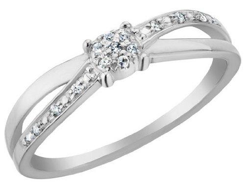 Diamond Promise Ring in 10K White Gold, Size 7