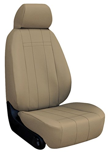 Custom Fit Ford Focus Seat Covers (2013-2014) Front Seat Set - In Leatherette Beige - St Recaro Sport Buckets W/ Adjustable Headrests