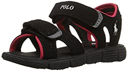 Polo Ralph Lauren Kids Brody BL Sport Buck Sport Sandal (Toddler/Little Kid/Big Kid), Black-T, 13 M US Little Kid