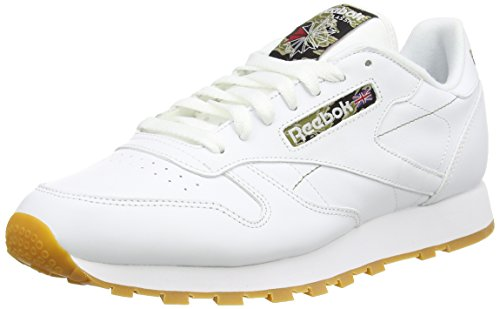 Reebok CL Leather TC, Scarpe sportive, Uomo, Multicolore (White/Black/Warm Olive), 46