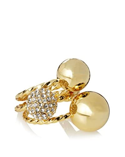 Giles & Brother Encrusted Triple Twist & Ball Ring Set  [Gold/Clear]