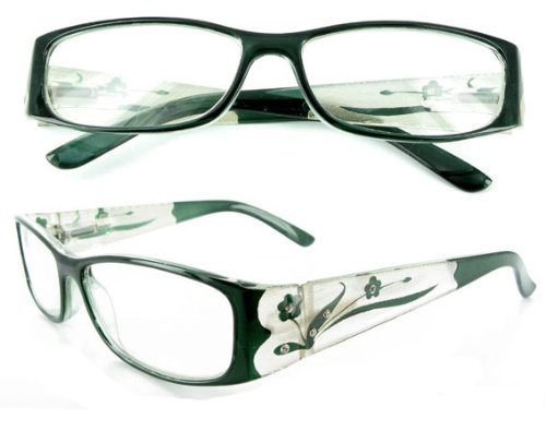 """Tiffany's Garden"" designer fashion reading glasses for youthful women who like to read with style. Green +1.50"
