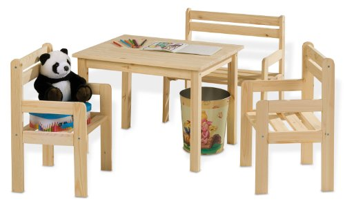 Kindertisch-Massivholz-inkl-Sthle-u-Sitzbank-Kai