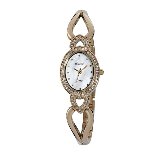 Armitron Women's 753970MPGP Swarovski Crystal NOW Gold-Tone Heart Shaped Bangle Watch