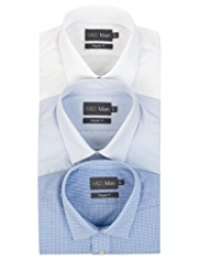 3 Pack Easy Care Short Sleeve Plain and Gingham Shirts