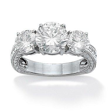 PalmBeach Jewelry 3.50 CT TW Three-Stone DiamonUltra™ Cubic Zirconia Anniversary Ring