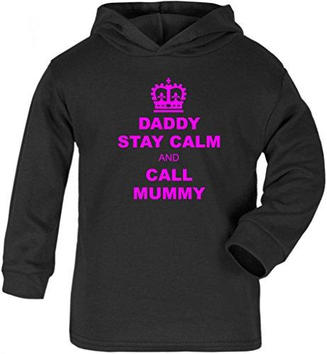Purple Penguin Clothing - Felpa con cappuccio - Bebè maschietto Nero  Black / Pink Print