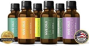 Pure Natural Essential Oils 100% Premium Therapeutic Grade, Guaranteed Best Buy Set Aromatherapy 6 pack-Lavender Oil-Tea Tree Oil-Eucalyptus Oil-LemonGrass Oil-Orange Oil-Peppermint Oil. Made in USA.