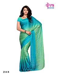 Blue and Sea Green Color Smokked Georgette Festival-Party Wear Designer Saree