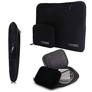 Coodio® Universal 13.3 inch Laptop Sleeve Bag Case Pouch + Accessory Bag for Apple Macbook Air 13, Macbook Pro Retina 13 (Fit all 13.3 inch ultrabook laptop) - Colour Black