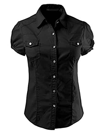 Le3no Womens Lightweight Fitted Short Sleeve Button Down