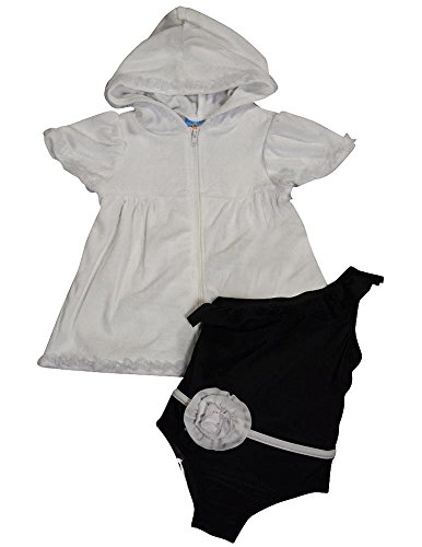 Baby Buns - Baby Girls 2Pc Spf 50 Swimsuit Set, White, Black 35398-12Months front-664083
