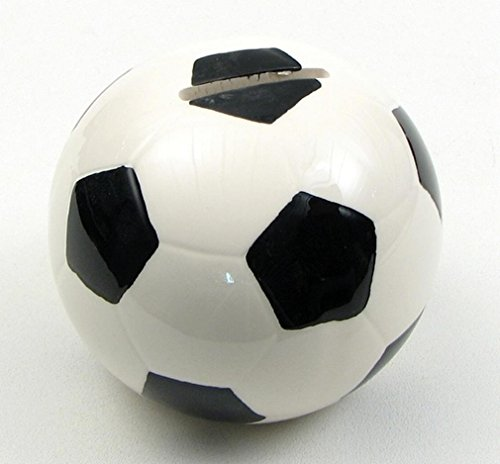 Black & White Soccer Ball Shaped Money Bank Resin - 1