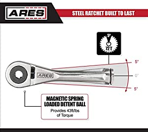 ARES 70040-1/4-Inch Drive Close Quarter Micro Bit Ratchet | Mini Screwdriver with High Torque 72-Tooth Gearhead - 5 Degree Sweep - Spring Loaded Detent Ball Bit Holder
