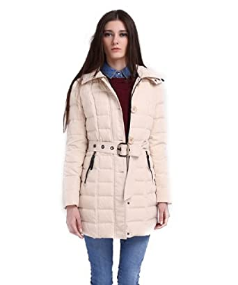 RUIATOO Women's Belted Long Down Jacket Parka Quilted Slim Coat With Detachable Hood Beige 3XL
