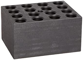"Talboys 949116 Anodized Aluminum Standard Test Tube Single Heat Block, 16 Well, 13.9mm Well Diameter, 3.75"" Length x 3"" Width x 2"" Height, For 12/13mm Tube"