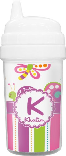 Butterflies & Stripes Toddler Sippy Cup (Personalized) front-782424