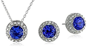 "Sterling Silver and Swarovski Crystal Round Stud Earrings and Pendant Necklace (18"") Jewelry Set from PAJ, Inc"