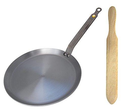 De Buyer Mineral B Element Iron Crepe Pan Bundle with De Buyer Beechwood Spatula (9.4 Inch Pan)