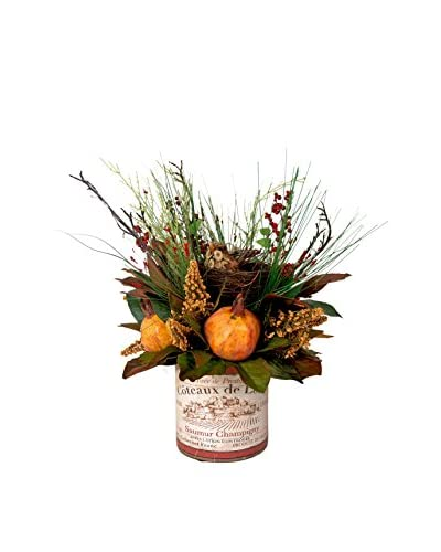 Creative Displays Birds Nest, Mixed Astilbe, Magnolia Leaves, & Berries in Vintage Container, Rust/G...