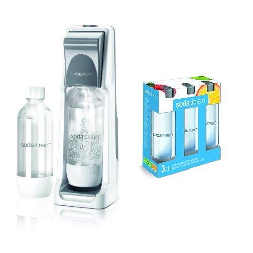 SodaStream Wassersprudler Cool (mit 1 x CO2-Zylinder 60L und 2 x 1L PET-Flaschen), grau + SodaStream 3 x 1L PET-Flasche, grau