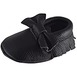 Unique Baby 100% Genuine Leather Bow Moccasins Anti-Slip Tassels Prewalker Toddler Shoes (XS (4.5 inches), Black)