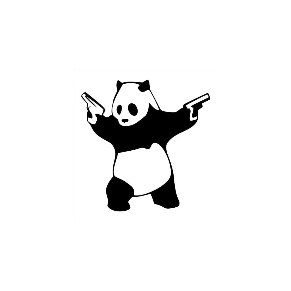 Panda With Guns Vinyl Die Cut Decal Sticker 5 Black