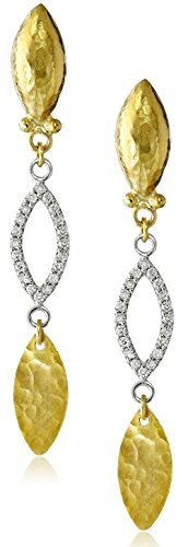 GURHAN-Willow-24k-Gold-and-White-Diamond-Triple-Drop-Earrings-110cttw-H-I-Color-SI2-I1-Clarity