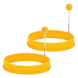 Trudeau Yellow Silicone Egg Ring, Set of 2