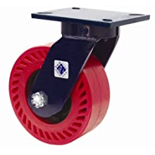 "RWM Casters 76 Series Plate Caster, Swivel, Kingpinless, Phenolic Wheel, Roller Bearing, 2500 lbs Capacity, 8"" Wheel Dia, 3"" Wheel Width, 10-1/2"" Mount Height, 7-1/4"" Plate Length, 5-1/4"" Plate Width"