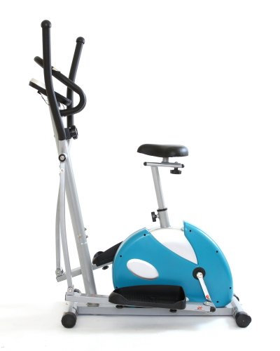 Gym Master 2 in 1 Big Elliptical & Bike For Cardio,Fitness-Cross Trainer in Silver & Blue