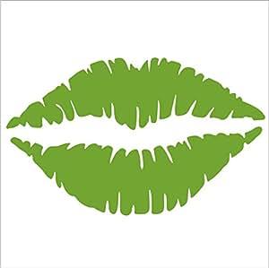 "Amazon.com: Kiss Mark Lips Decal (4"" x 2.5"", Lime Green): Automotive"