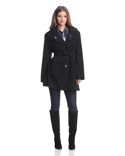 London Fog Women's Double-Collar Trench  [Black]