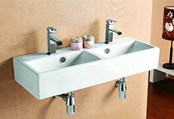doppelwaschtische waschbecken zur wandmontage neu 4128d dc397. Black Bedroom Furniture Sets. Home Design Ideas