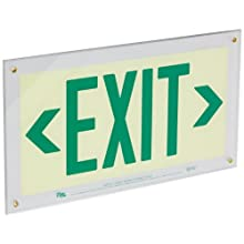 "Safe Glow Photoluminescent Exit Sign, ""EXIT"" with Left and Right Arrows Symbol, 16-29/32"" Length x 9-1/2"" Width x 1/4 "" Height, Wall Mount (Pack of 1)"