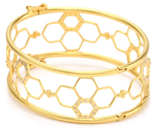Lauren Harper Collection Milky Way 18k Gold Diamond Hinged Bangle Bracelet